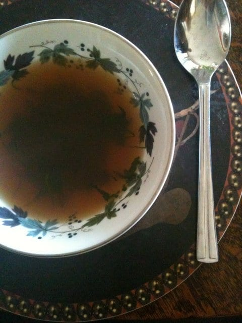 English miso soup with foraged seaweed